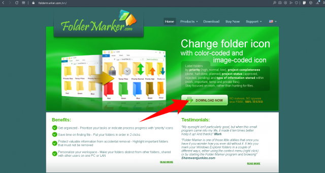 Go to the foldermarker.com website and click on the Download button