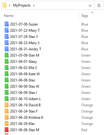 Folders are sorted by color